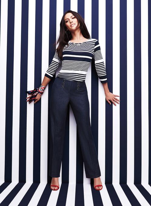 Stripe Print Chain Trim Top, Blue, hi-res