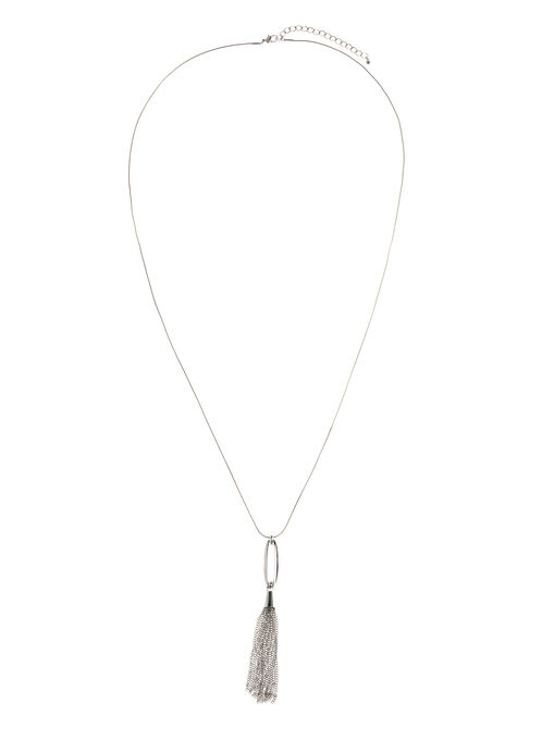 Chain Tassel Pendant Necklace, Silver, hi-res