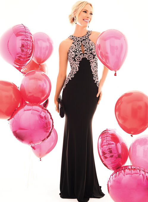Floral Appliqué Evening Gown, Black, hi-res