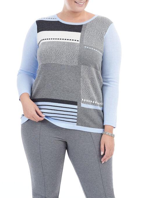 Colour Block Knit Top, Blue, hi-res