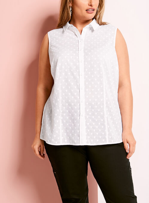 Sleeveless Fil-Coupé Button Down Shirt, White, hi-res