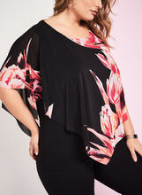 3/4 Sleeve Floral Print Poncho Blouse, Black, hi-res