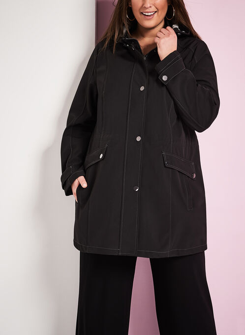 Hooded Jersey Anorak Coat, Black, hi-res