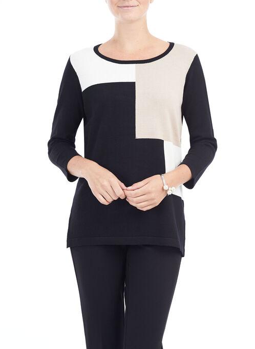 3/4 Sleeve Printed Knit Sweater, Black, hi-res