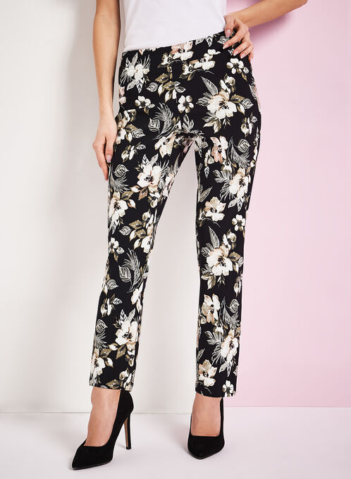 Floral Print 7/8 Pants, Black, hi-res