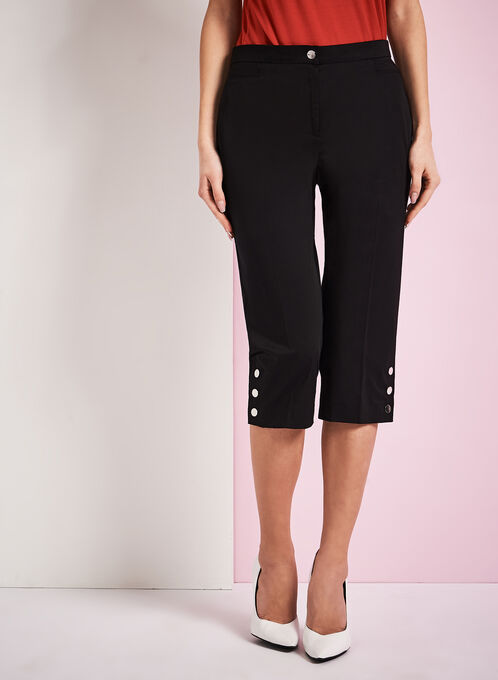 Signature Fit Sateen Capri Pants, Black, hi-res