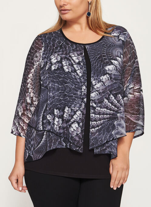 3/4 Sleeve Layered Blouse, Purple, hi-res