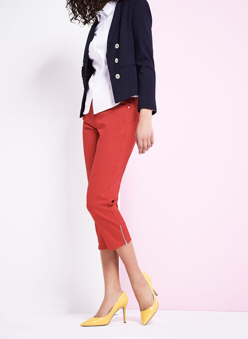 Ponte Button Trim Blazer, Blue, hi-res