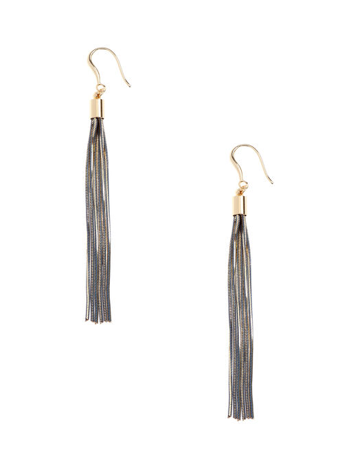 Elongated Tassel Earrings, Grey, hi-res