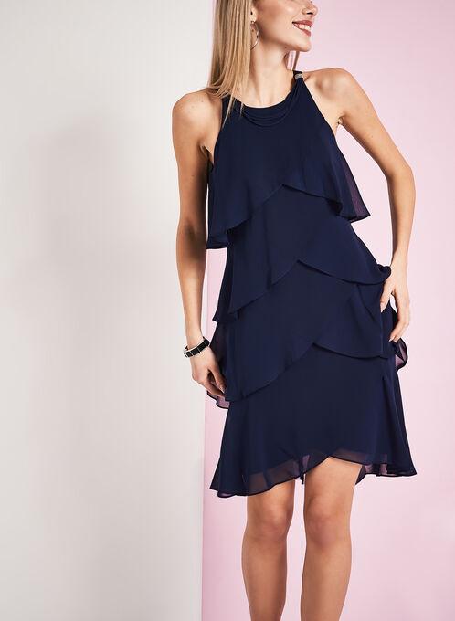 Rhinestone Detail Tiered Dress , Blue, hi-res