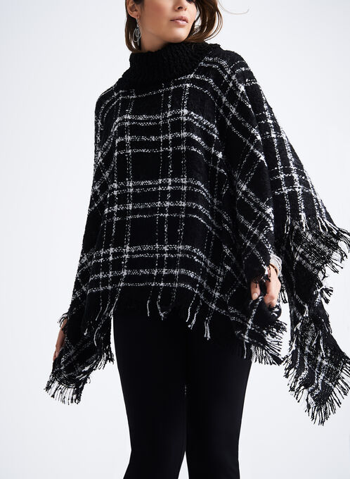 Cowl Neck Plaid Poncho, Black, hi-res