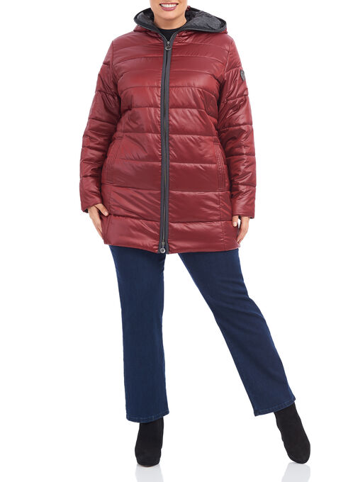 Quilted Polyfill Hooded Jacket, Red, hi-res
