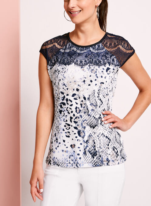 Embellished Lace Trim Printed T-Shirt, Blue, hi-res