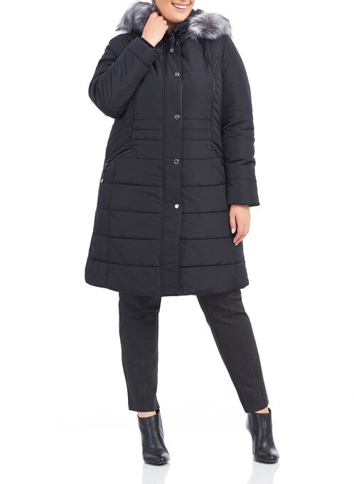 Novelti Quilted Polyfill Coat , Black, hi-res