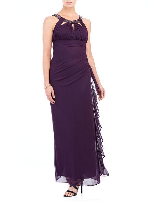 Sleeveless Beaded Cleo Neck Gown , Purple, hi-res