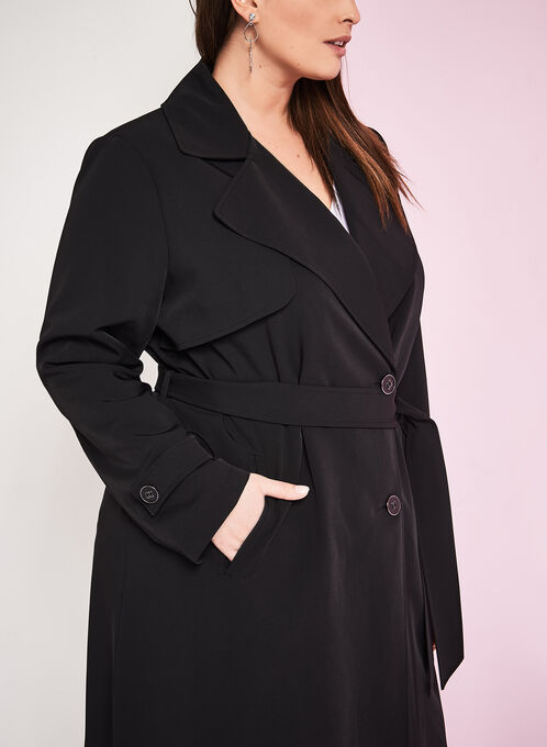 Stretch Trench Coat, Black, hi-res