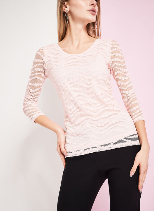 3/4 Sleeve Dot Print Lace Top, Pink, hi-res