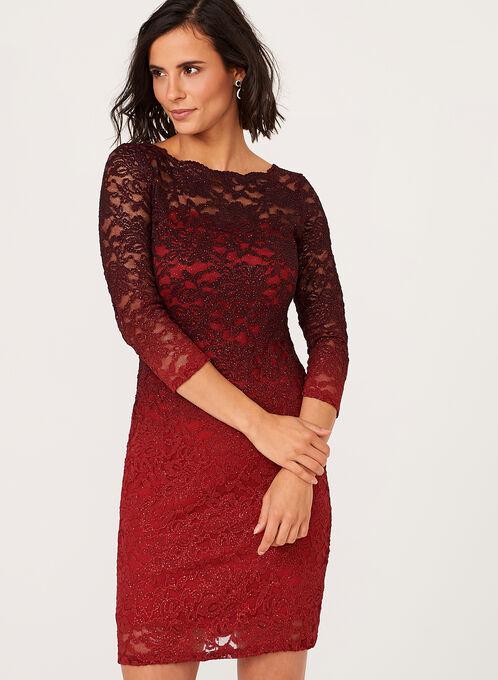 Ombré Glitter Lace Dress, Red, hi-res
