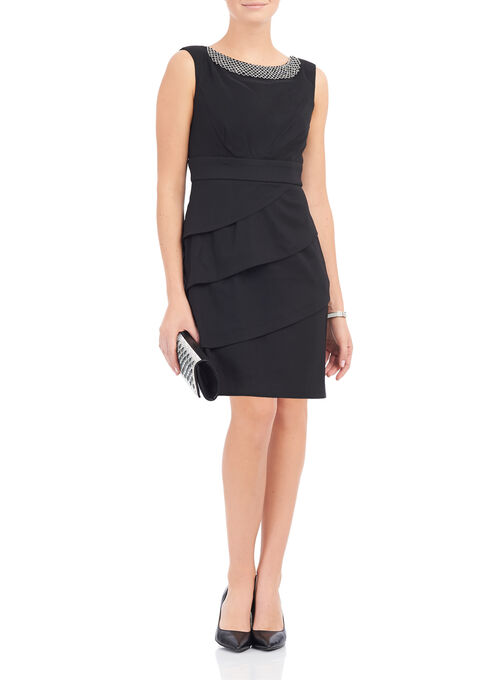 Tiered Beaded Neckline Dress, Black, hi-res