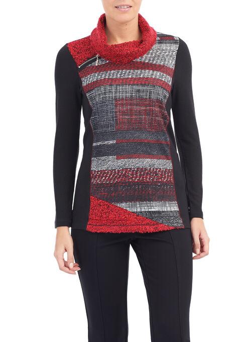 Cowl Neck Bouclé Sweater, Black, hi-res