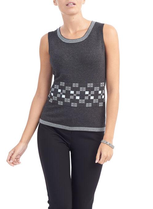 Sleeveless Printed Knit Tank Top, Grey, hi-res