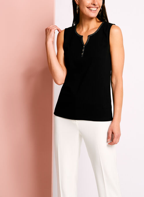 Sleeveless Henley Camisole, Black, hi-res