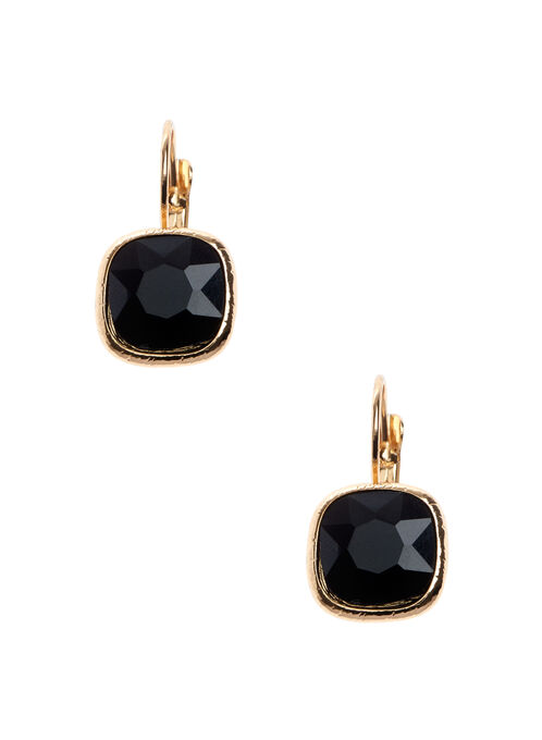 Faceted Square Stone Earrings , Black, hi-res