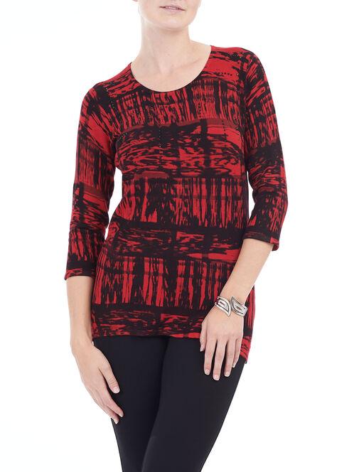 3/4 Sleeve Printed Crew Neck Top , Red, hi-res