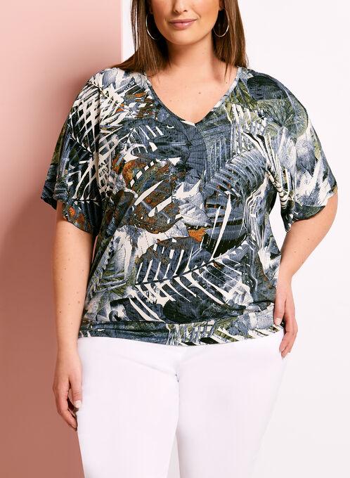 Tropical Palm Print Cutout Jersey Top, Green, hi-res
