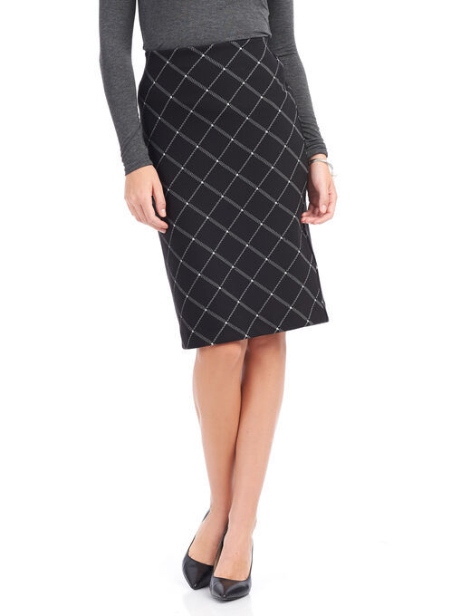 Diagonal Plaid Print Pencil Skirt, Black, hi-res
