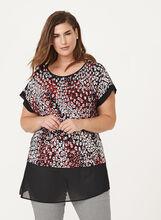 Geometric Print Drop Shoulder Blouse, Black, hi-res