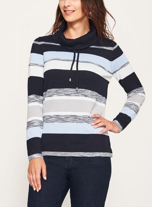 Funnel Neck Stripe Knit Pullover, Blue, hi-res