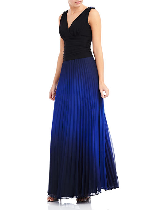 V-Neck Pleated Ombré Dress, Black, hi-res