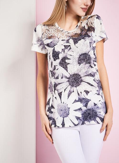 T-shirt ajouré fleurs et brillants, Gris, hi-res