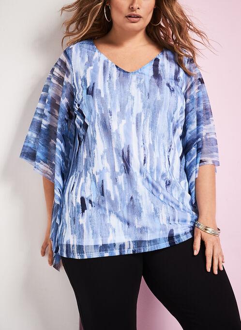 Blouse aspect poncho motif abstrait, Bleu, hi-res