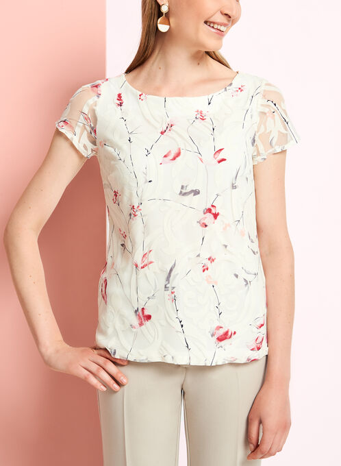 Floral Burnout Print Mesh Top, White, hi-res