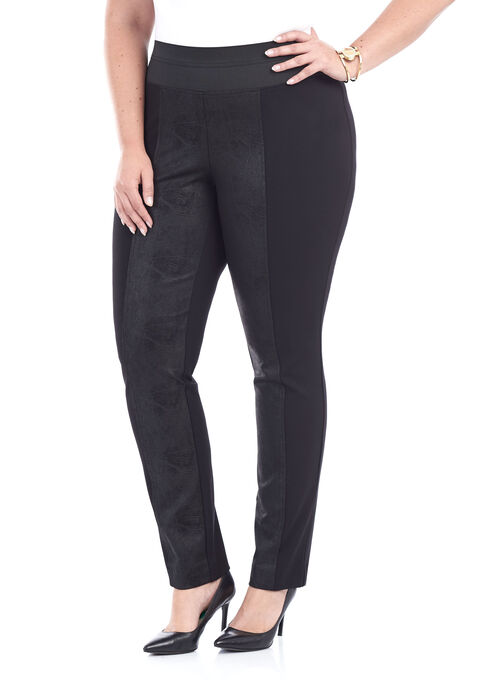 Ponte Elastic Waist Leggings, Black, hi-res