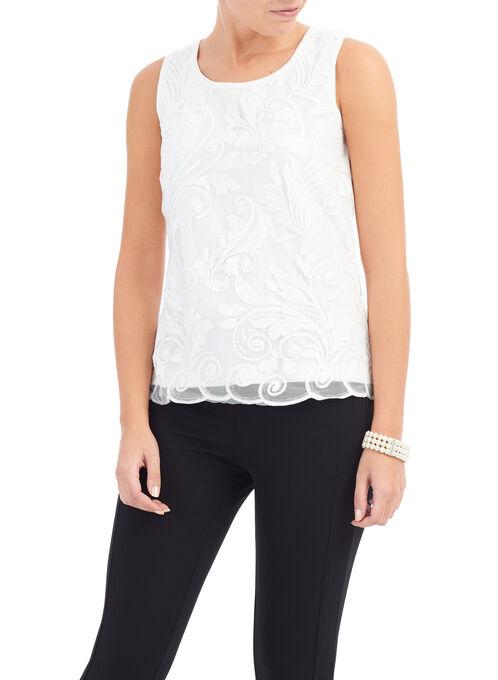 Sleeveless Mesh & Sequin Blouse, Off White, hi-res