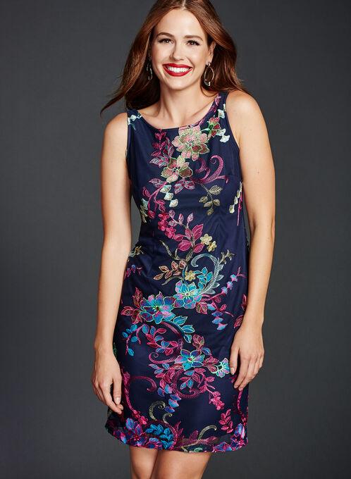 Embroidered Mesh Sheath Dress, Blue, hi-res