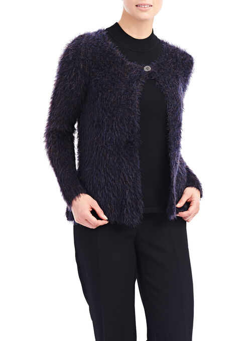 Scoop Neck Eyelash Trim Cardigan, Blue, hi-res
