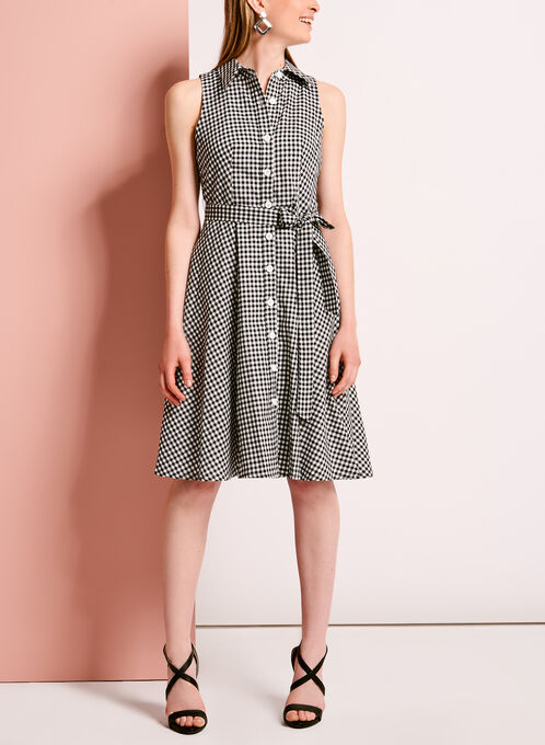 Gingham Button Up Cotton Dress, Black, hi-res
