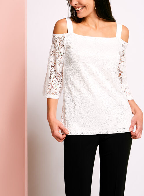 Off The Shoulder Lace Top, Off White, hi-res