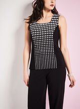 Sleeveless Square Print Top, , hi-res