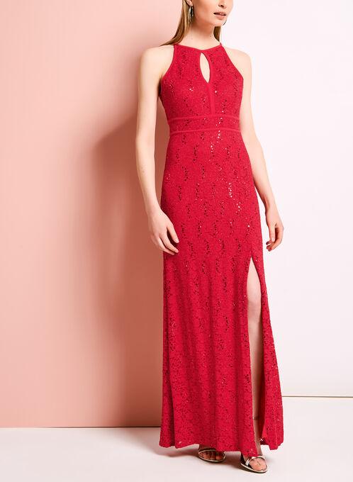 Glitter Lace Keyhole Dress, Orange, hi-res