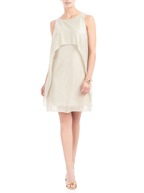 Dot Print Popover Mesh Dress, Gold, hi-res