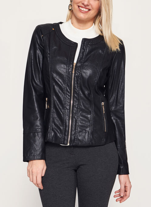 Faux Leather Zipper Trim Jacket, Black, hi-res
