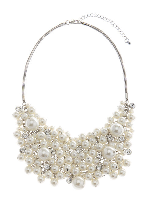 Cluster Pearl Bib Necklace, Off White, hi-res