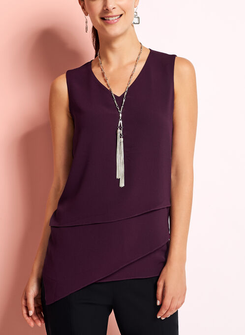 Sleeveless Tiered Chiffon Blouse, Purple, hi-res