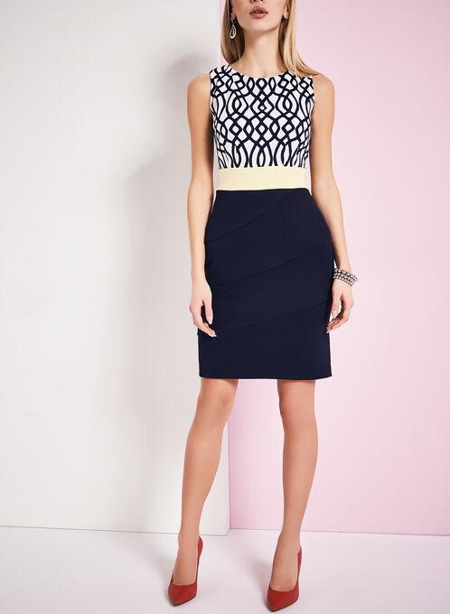 Tiered Swirl Print Dress , Blue, hi-res