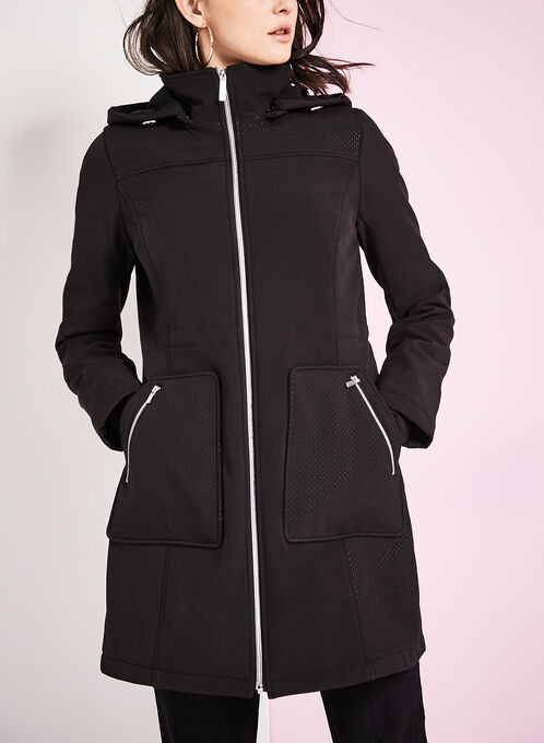 Embossed Anorak Coat, Black, hi-res